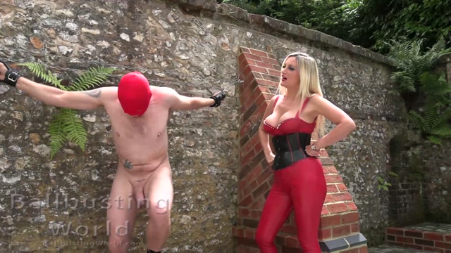 Ballbusting World PPV - Outdoor Ballbusting by Nikki in Latex and Boots - BB1501 00002