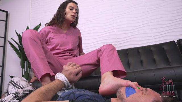 Bratty Foot Girls - Goddess Fina - Sniff my Stinky Nurse FEET! 00009