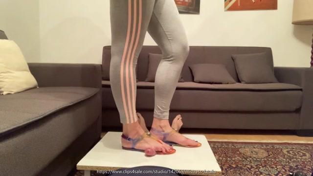 Mistress Fatalia - Rainbow-colored sandals on his manhood 00002