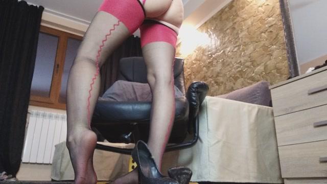 MoneyGoddesss - Tease in Black stockings with red seam 00006